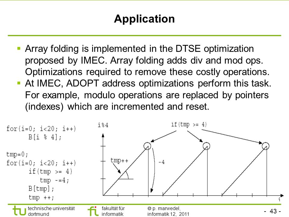 - 43 - technische universität dortmund fakultät für informatik p. marwedel, informatik 12, 2011 Application Array folding is implemented in the DTSE o