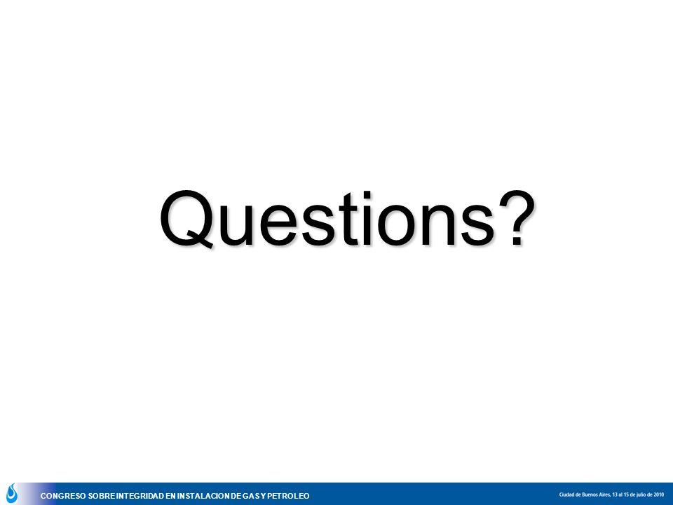 CONGRESO SOBRE INTEGRIDAD EN INSTALACION DE GAS Y PETROLEO Questions?
