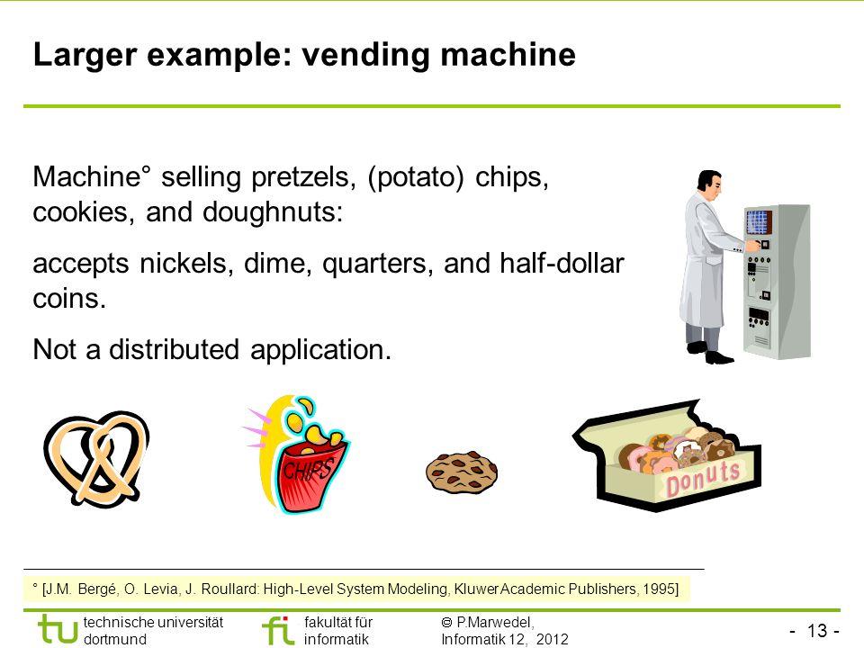 - 13 - technische universität dortmund fakultät für informatik P.Marwedel, Informatik 12, 2012 Larger example: vending machine Machine° selling pretze