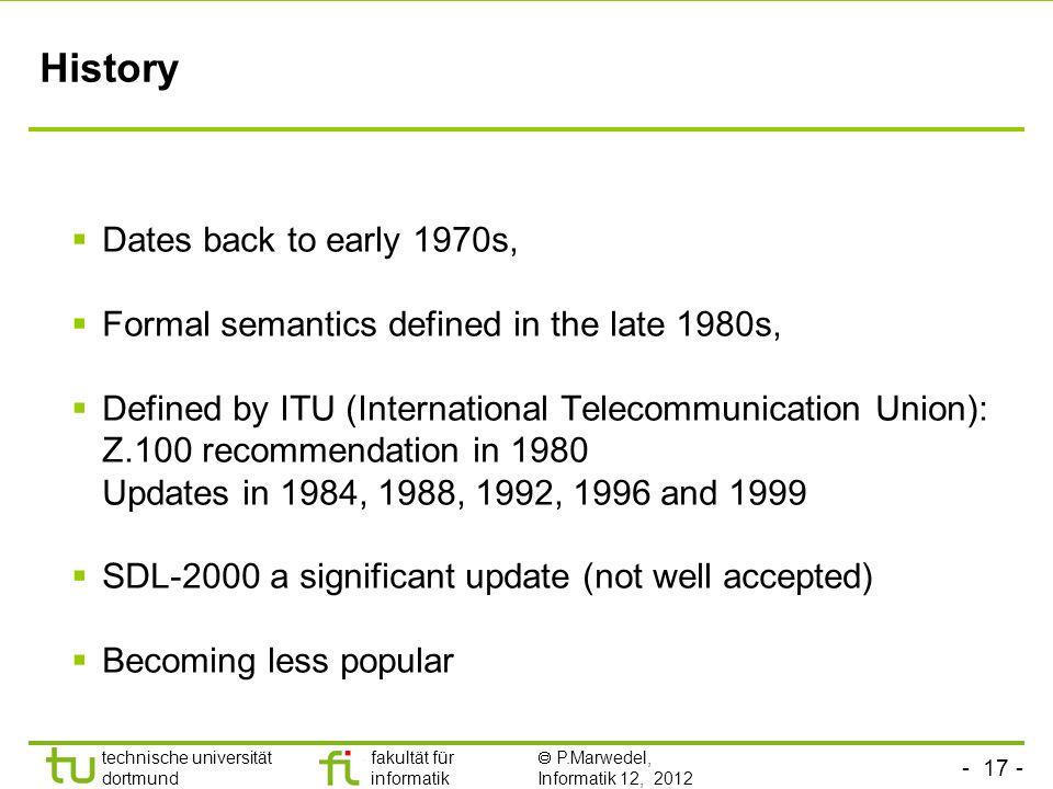 - 17 - technische universität dortmund fakultät für informatik P.Marwedel, Informatik 12, 2012 History Dates back to early 1970s, Formal semantics def