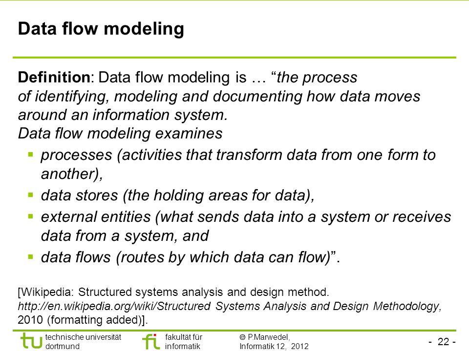- 22 - technische universität dortmund fakultät für informatik P.Marwedel, Informatik 12, 2012 Data flow modeling Definition: Data flow modeling is …