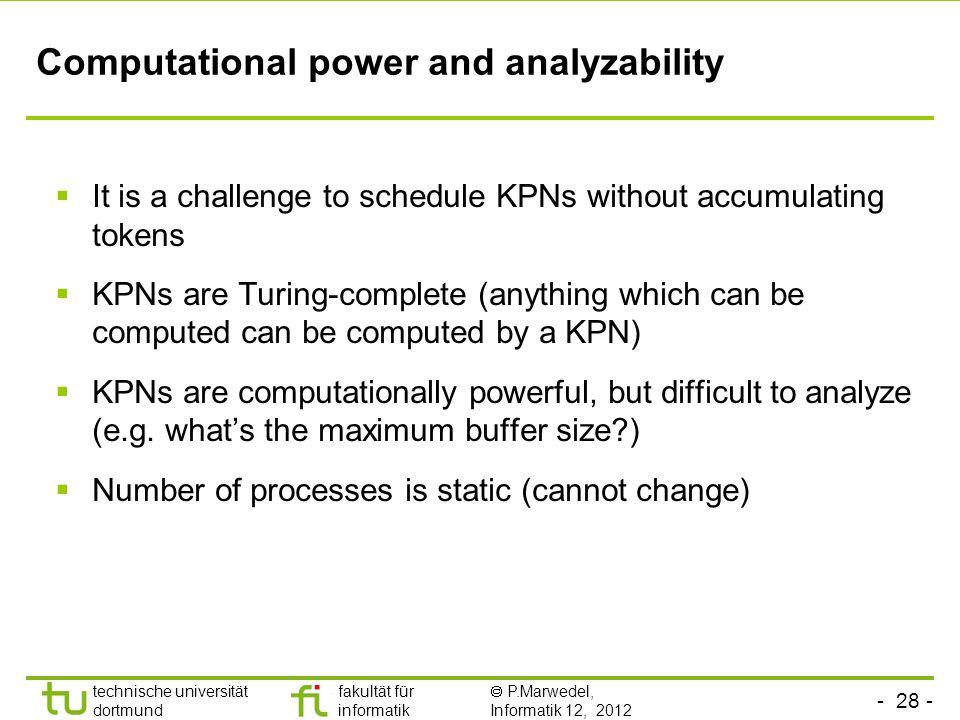 - 28 - technische universität dortmund fakultät für informatik P.Marwedel, Informatik 12, 2012 Computational power and analyzability It is a challenge