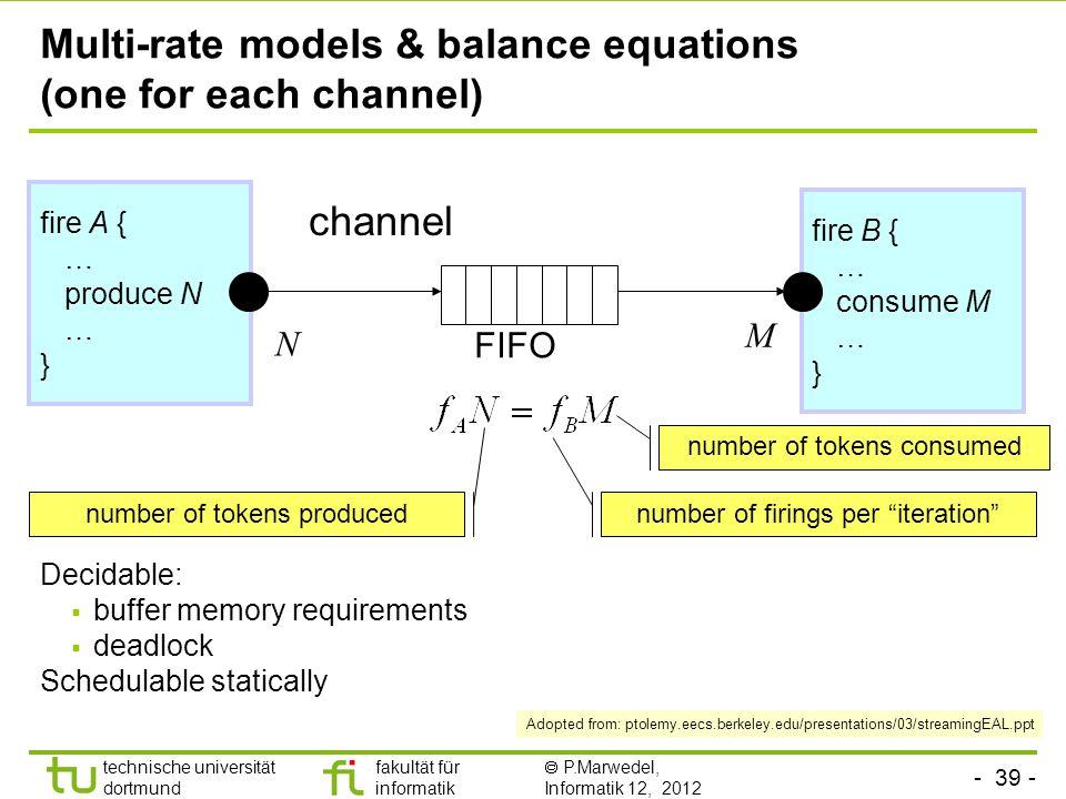 - 39 - technische universität dortmund fakultät für informatik P.Marwedel, Informatik 12, 2012 Multi-rate models & balance equations (one for each cha