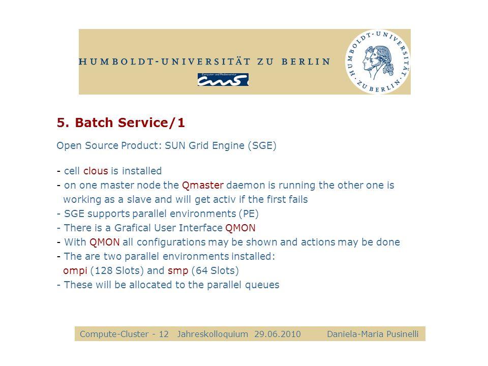 5.Batch Service/1 Compute-Cluster - 12Jahreskolloquium 29.06.2010 Daniela-Maria Pusinelli alle Open Source Product: SUN Grid Engine (SGE) - cell clous