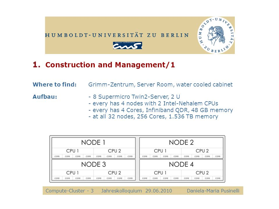 1. Construction and Management/1 8 Supermicro Twin2-Server Where to find:Grimm-Zentrum, Server Room, water cooled cabinet Aufbau:- 8 Supermicro Twin2-