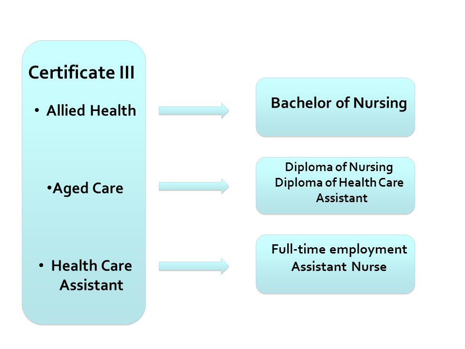 Certificate III Allied Health Aged Care Health Care Assistant Pathways Bachelor of Nursing Diploma of Nursing Diploma of Health Care Assistant Full-ti