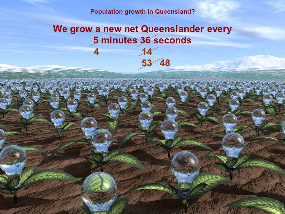 Population growth in Queensland? We grow a new net Queenslander every 5 minutes 36 seconds 4 14 5348