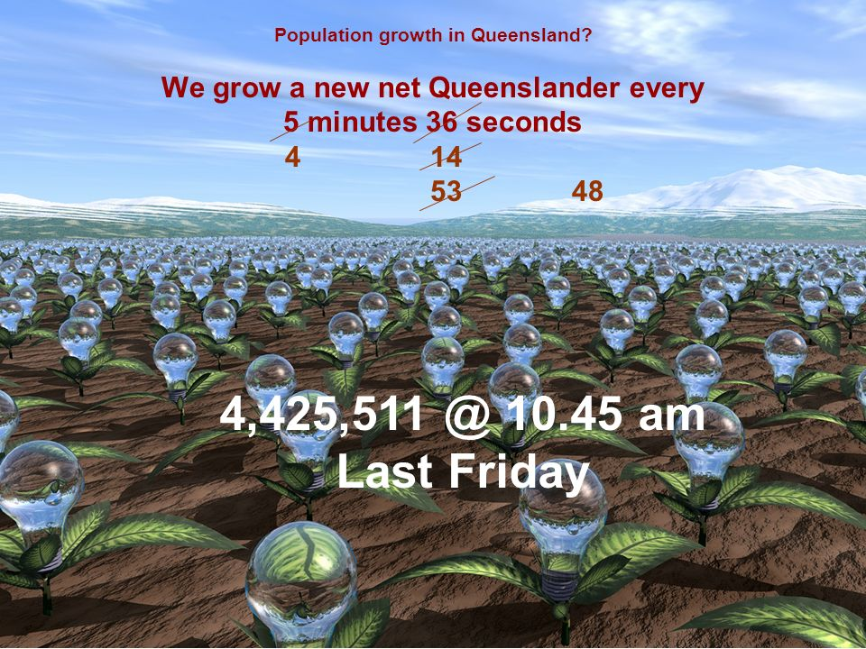 Population growth in Queensland? We grow a new net Queenslander every 5 minutes 36 seconds 4 14 5348 4,425,511 @ 10.45 am Last Friday