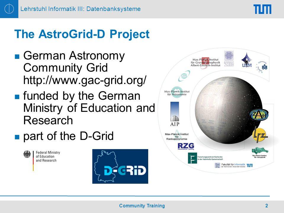 3Community Training Lehrstuhl Informatik III: Datenbanksysteme The Multiwavelength Milky Way http://adc.gsfc.nasa.gov/mw/