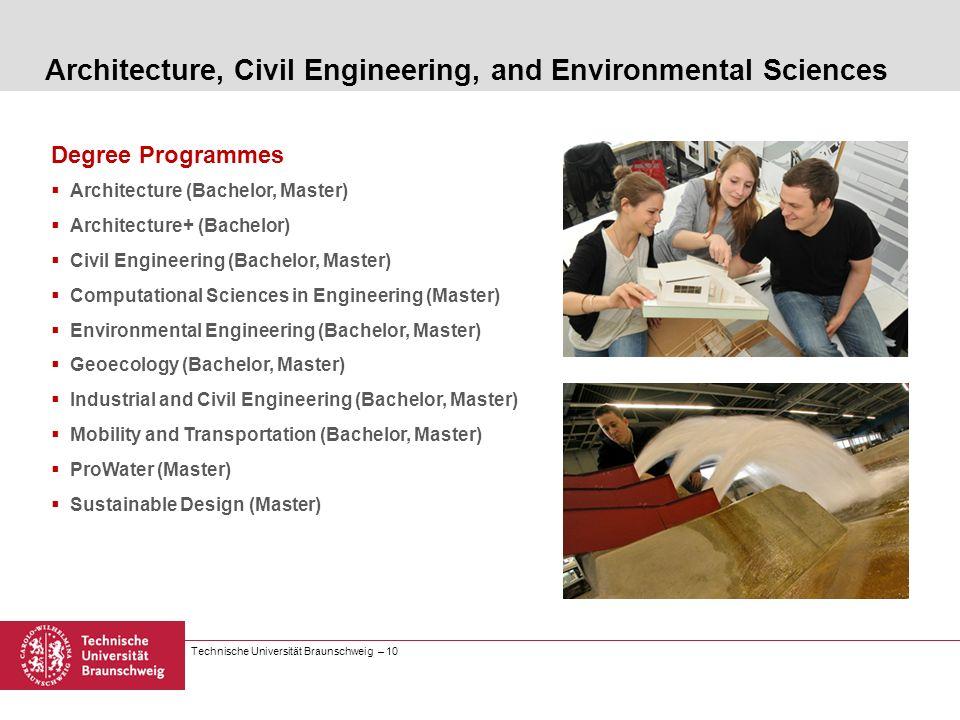 Technische Universität Braunschweig – 10 Degree Programmes Architecture (Bachelor, Master) Architecture+ (Bachelor) Civil Engineering (Bachelor, Maste