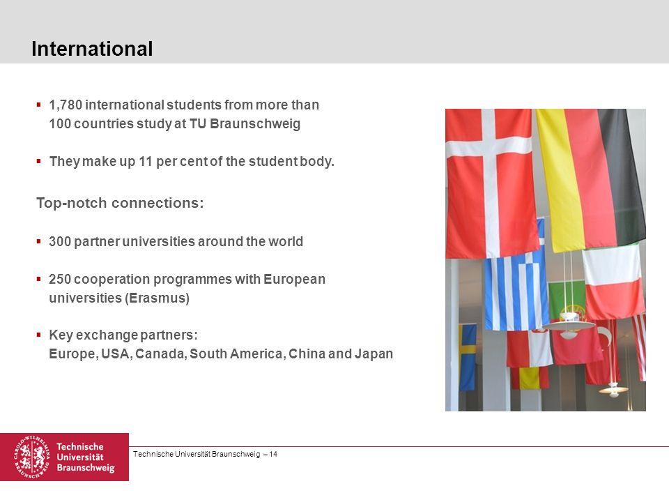 Technische Universität Braunschweig – 14 1,780 international students from more than 100 countries study at TU Braunschweig They make up 11 per cent o