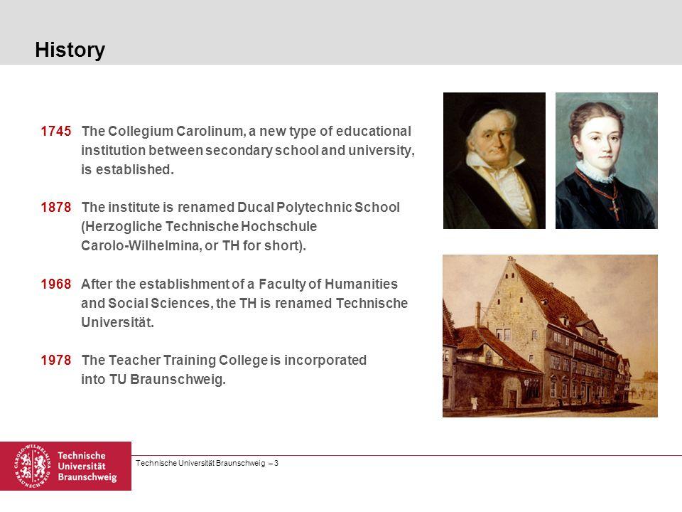 Technische Universität Braunschweig – 3 History 1745 The Collegium Carolinum, a new type of educational institution between secondary school and unive