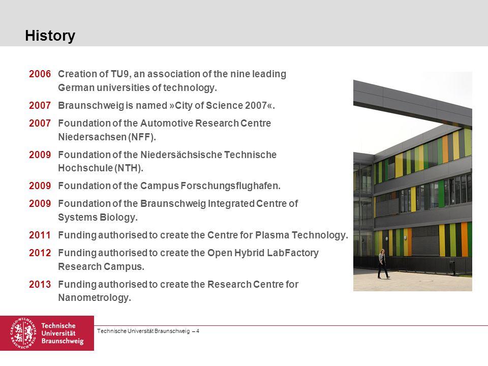 Technische Universität Braunschweig – 4 History 2006Creation of TU9, an association of the nine leading German universities of technology. 2007Braunsc