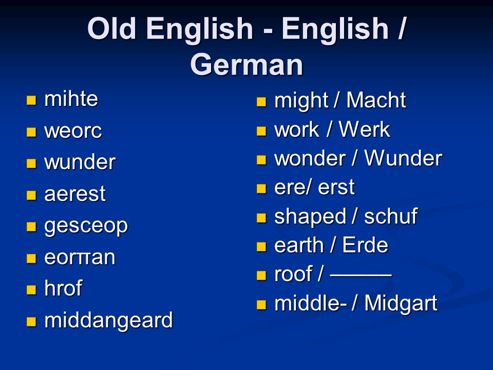 Old English - English / German mihte mihte weorc weorc wunder wunder aerest aerest gesceop gesceop eorπan eorπan hrof hrof middangeard middangeard mig