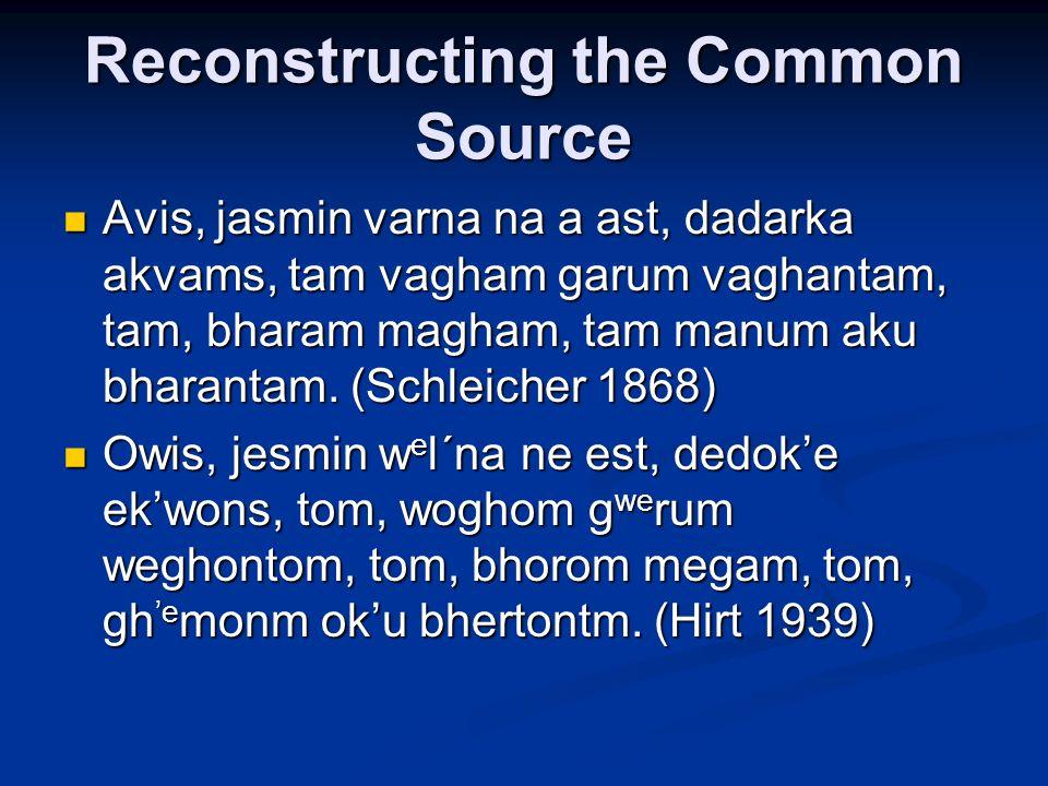 Reconstructing the Common Source Avis, jasmin varna na a ast, dadarka akvams, tam vagham garum vaghantam, tam, bharam magham, tam manum aku bharantam.