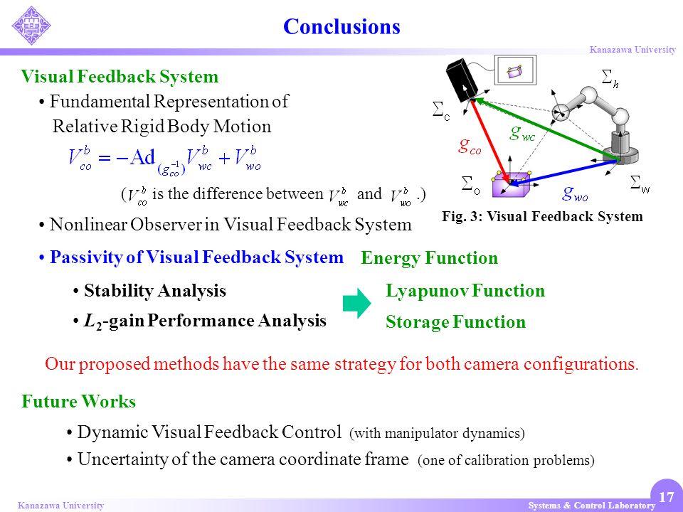 Systems & Control LaboratoryKanazawa University 17 Stability Analysis L 2 -gain Performance Analysis Lyapunov Function Storage Function Future Works V