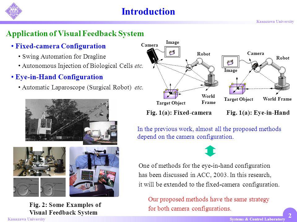 Systems & Control LaboratoryKanazawa University 2 Application of Visual Feedback System Fig. 2: Some Examples of Visual Feedback System Swing Automati