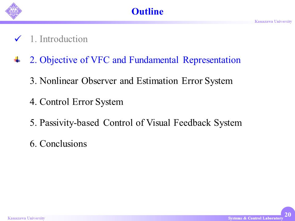 Systems & Control LaboratoryKanazawa University 20 1. Introduction 2. Objective of VFC and Fundamental Representation 3. Nonlinear Observer and Estima