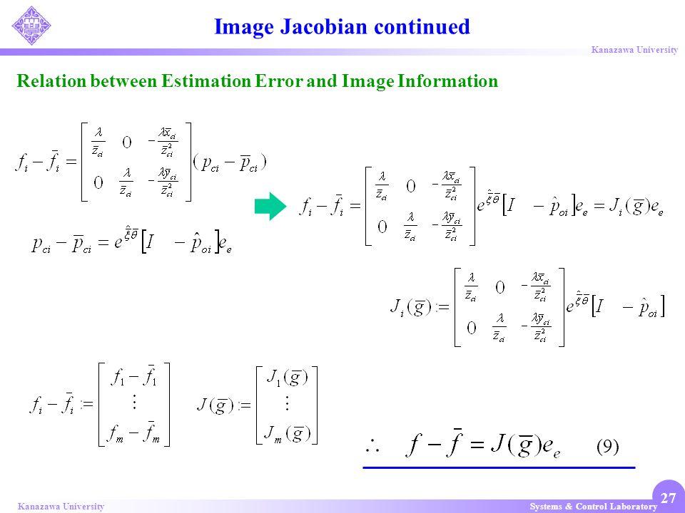 Systems & Control LaboratoryKanazawa University 27 Image Jacobian continued Relation between Estimation Error and Image Information (9)
