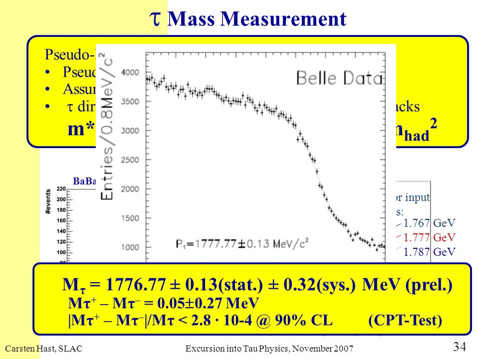 Carsten Hast, SLACExcursion into Tau Physics, November 2007 34 Mass Measurement Pseudo-Mass Technique Pseudo-mass was introduced by ARGUS in 1992 Assu