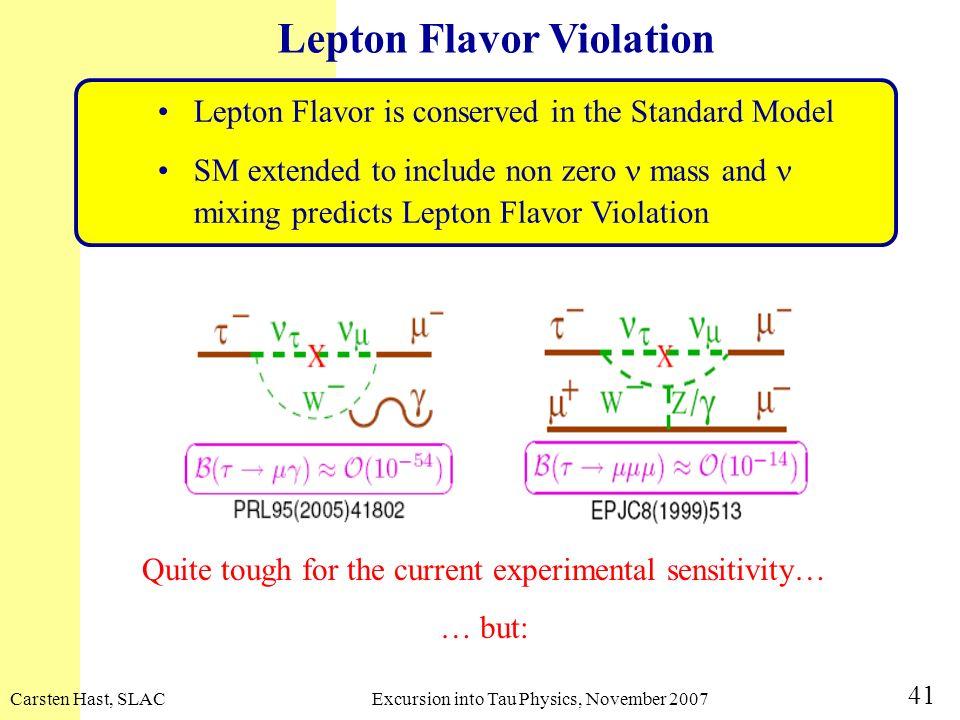 Carsten Hast, SLACExcursion into Tau Physics, November 2007 41 Quite tough for the current experimental sensitivity… … but: Lepton Flavor Violation Le