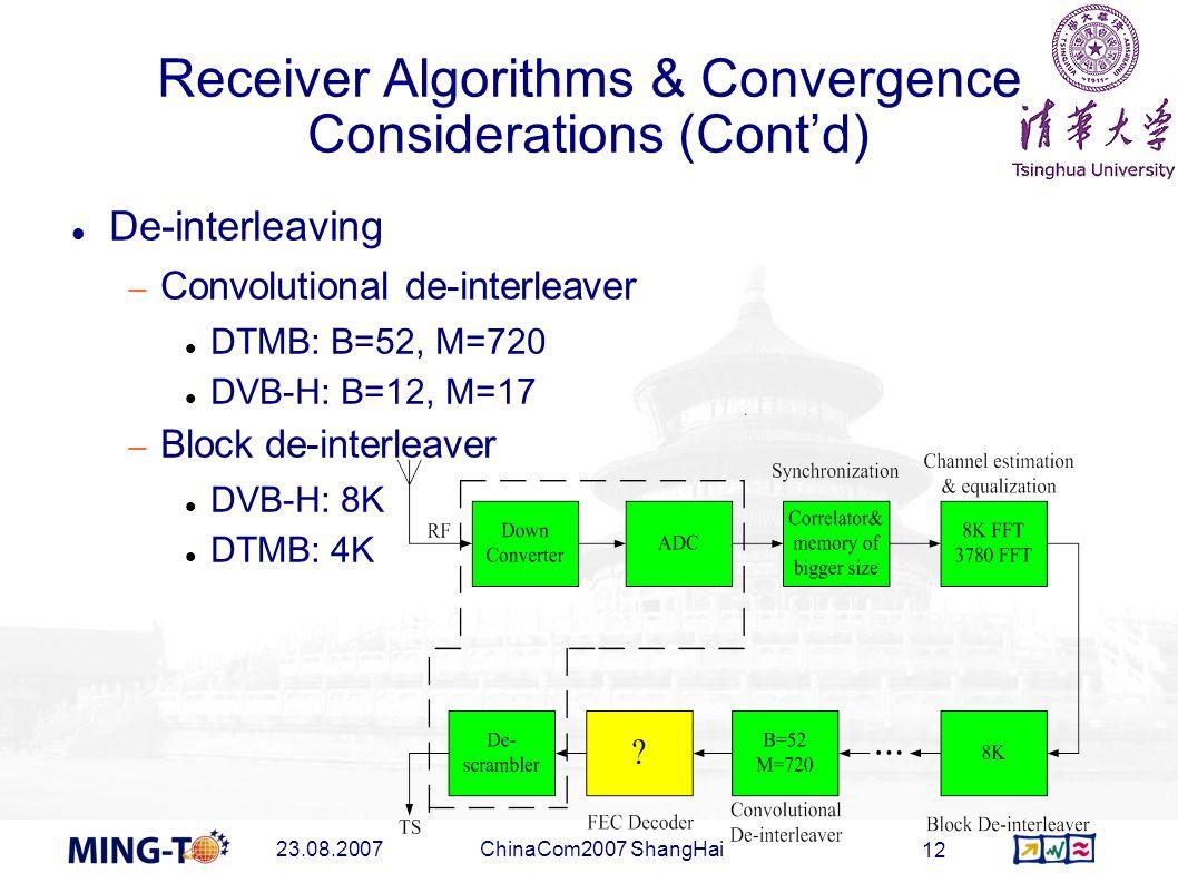 23.08.2007ChinaCom2007 ShangHai 12 Receiver Algorithms & Convergence Considerations (Contd) De-interleaving Convolutional de-interleaver DTMB: B=52, M