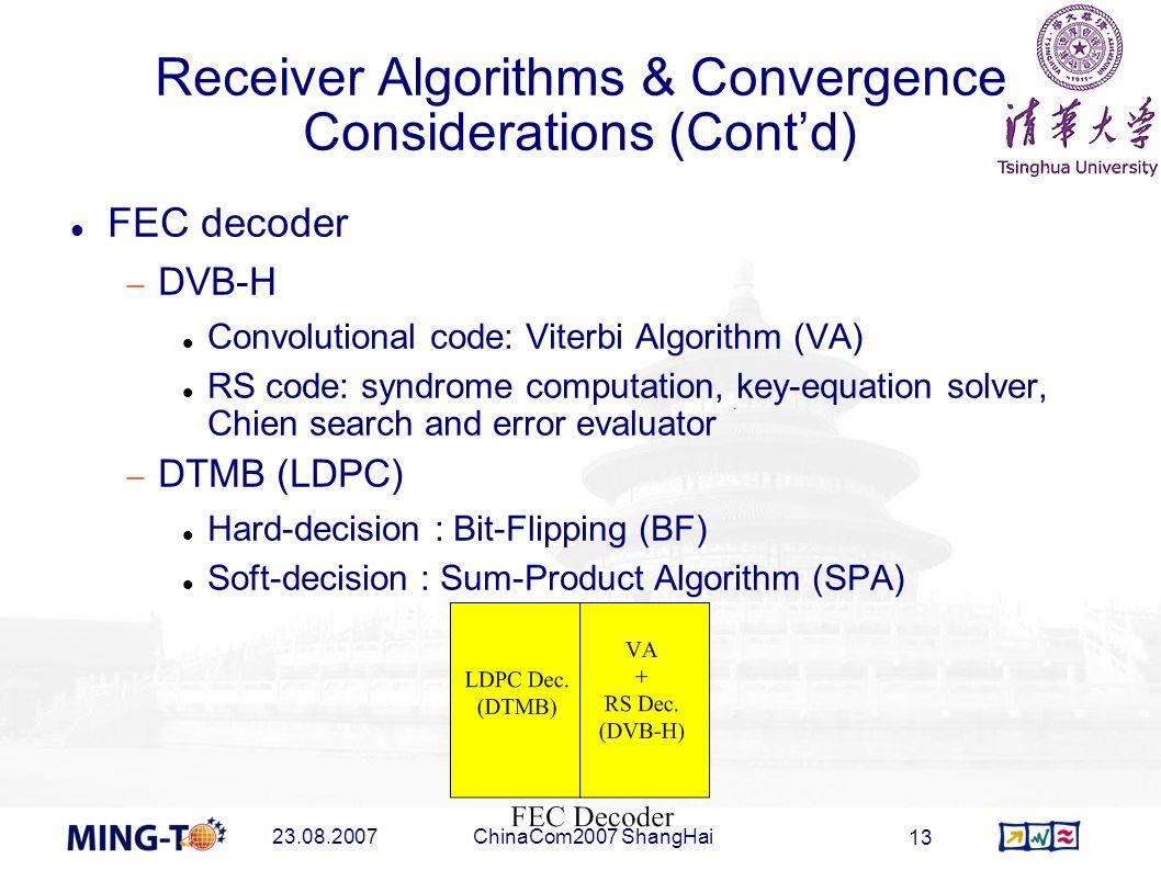 23.08.2007ChinaCom2007 ShangHai 13 Receiver Algorithms & Convergence Considerations (Contd) FEC decoder DVB-H Convolutional code: Viterbi Algorithm (V
