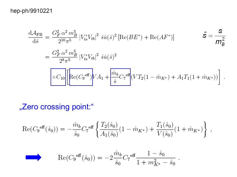 Zero crossing point: hep-ph/9910221