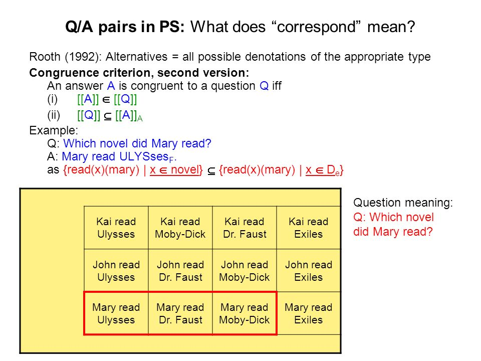 Q/A pairs in PS: What does correspond mean? Rooth (1992): Alternatives = all possible denotations of the appropriate type Congruence criterion, second