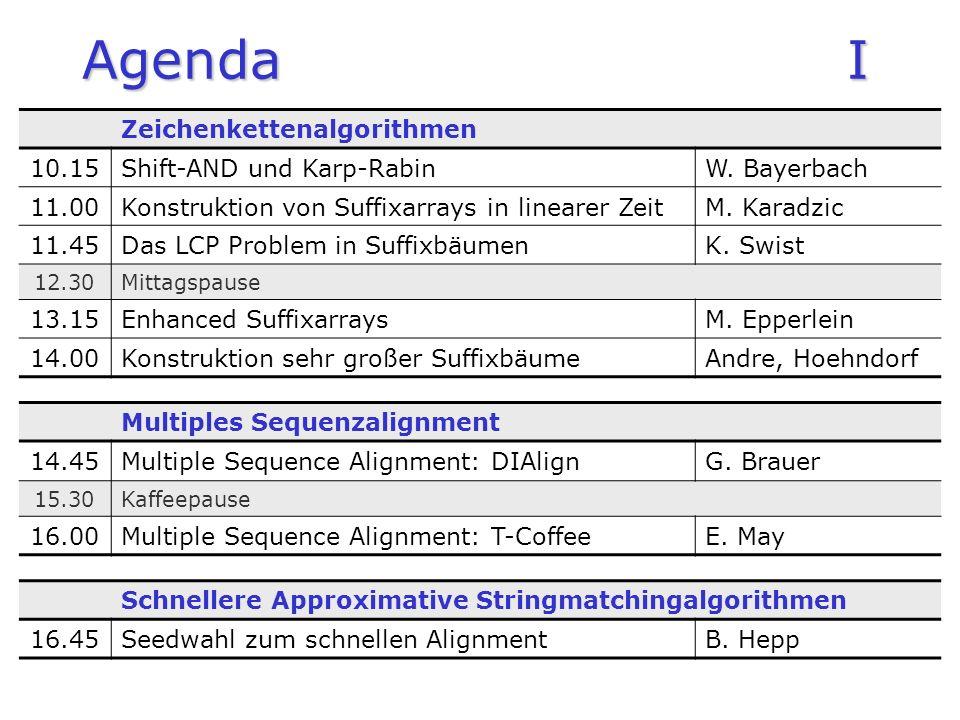Agenda I Zeichenkettenalgorithmen 10.15Shift-AND und Karp-RabinW. Bayerbach 11.00Konstruktion von Suffixarrays in linearer ZeitM. Karadzic 11.45Das LC