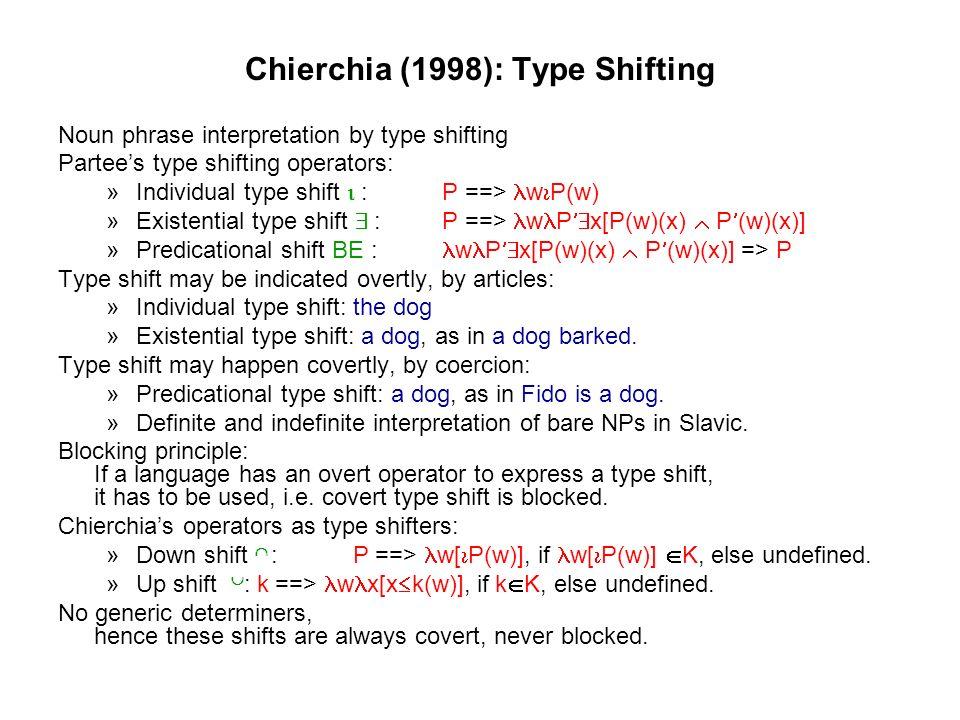 Chierchia (1998): Predication Types Regular Kind Predicatios:Dodos are extinct.