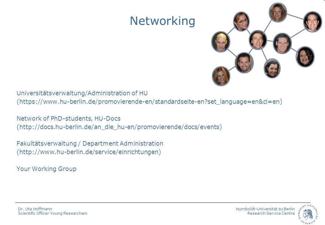 Humboldt-Universität zu Berlin Research Service Centre Dr. Uta Hoffmann Scientific Officer Young Researchers Networking Universitätsverwaltung/Adminis
