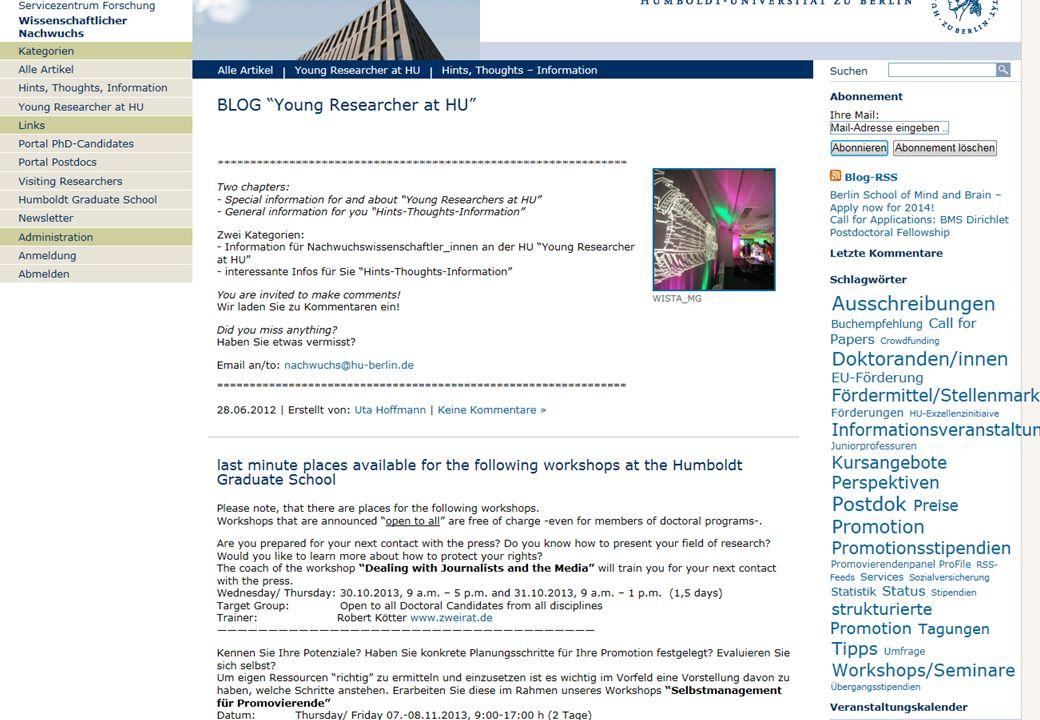 Humboldt-Universität zu Berlin Research Service Centre Dr. Uta Hoffmann Scientific Officer Young Researchers