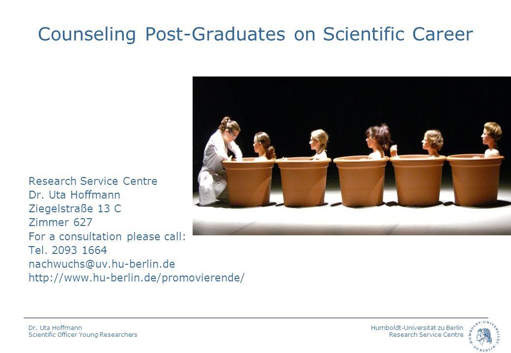 Humboldt-Universität zu Berlin Research Service Centre Dr. Uta Hoffmann Scientific Officer Young Researchers Counseling Post-Graduates on Scientific C