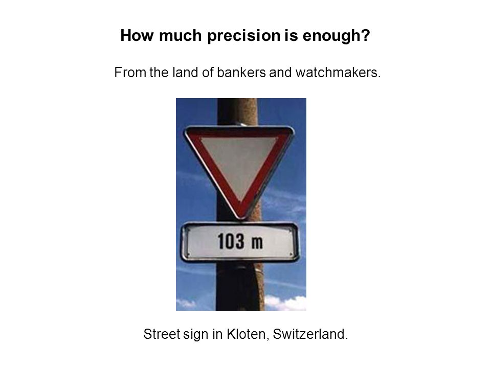 How much precision is enough? From the land of bankers and watchmakers. Street sign in Kloten, Switzerland.