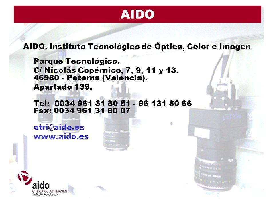 AIDO AIDO. Instituto Tecnológico de Óptica, Color e Imagen Parque Tecnológico. C/ Nicolás Copérnico, 7, 9, 11 y 13. 46980 - Paterna (Valencia). Aparta