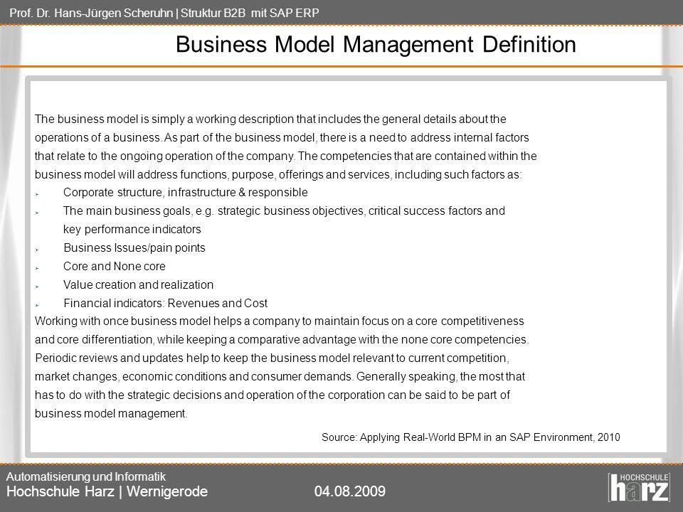 Prof. Dr. Hans-Jürgen Scheruhn | Struktur B2B mit SAP ERP Automatisierung und Informatik Hochschule Harz | Wernigerode04.08.2009 Business Model Manage