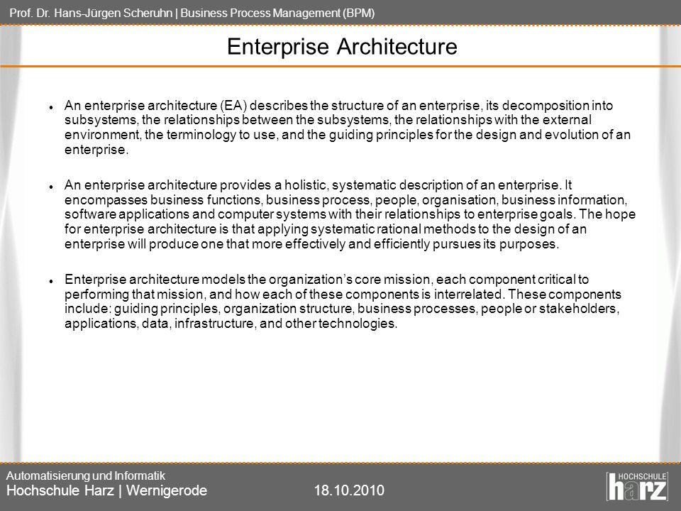 Prof. Dr. Hans-Jürgen Scheruhn | Business Process Management (BPM) Automatisierung und Informatik Hochschule Harz | Wernigerode18.10.2010 Enterprise A