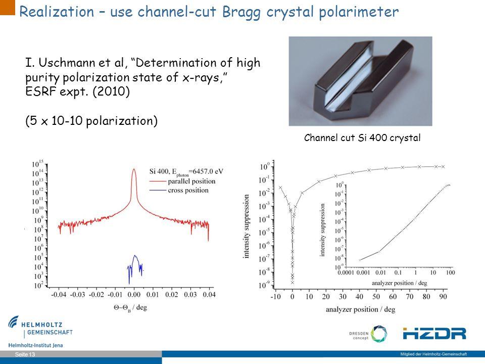 Seite 13 Channel cut Si 400 crystal Realization – use channel-cut Bragg crystal polarimeter I. Uschmann et al, Determination of high purity polarizati