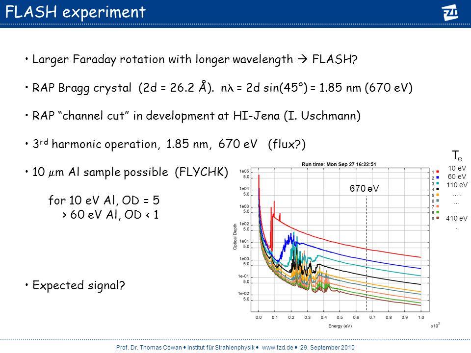 Prof. Dr. Thomas Cowan Institut für Strahlenphysik www.fzd.de 29. September 2010 FLASH experiment Larger Faraday rotation with longer wavelength FLASH