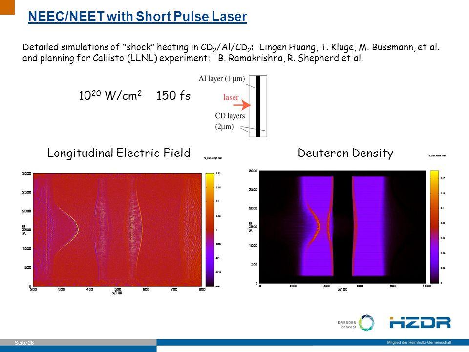 Seite 26 Detailed simulations of shock heating in CD 2 /Al/CD 2 : Lingen Huang, T. Kluge, M. Bussmann, et al. and planning for Callisto (LLNL) experim