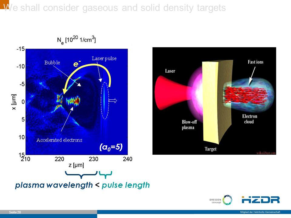 Seite 28 plasma wavelength < pulse length e-e- (a 0 =5) We shall consider gaseous and solid density targets