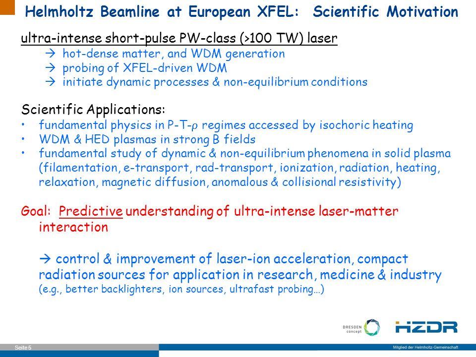 Seite 5 Helmholtz Beamline at European XFEL: Scientific Motivation ultra-intense short-pulse PW-class (>100 TW) laser hot-dense matter, and WDM genera
