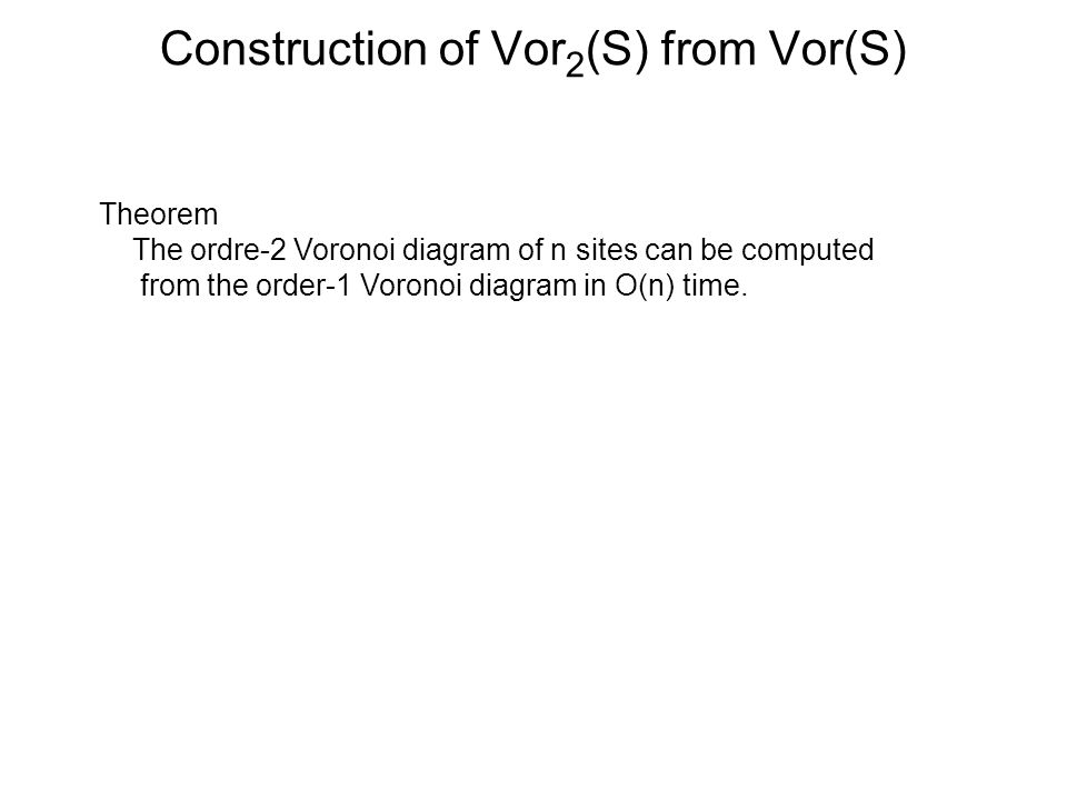 Construction of Vor 2 (S) from Vor(S) Theorem The ordre-2 Voronoi diagram of n sites can be computed from the order-1 Voronoi diagram in O(n) time.
