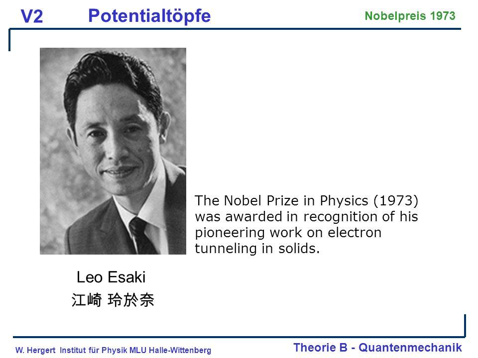 W. Hergert Institut für Physik MLU Halle-Wittenberg Theorie B - Quantenmechanik V2 Potentialtöpfe Nobelpreis 1973 Leo Esaki The Nobel Prize in Physics