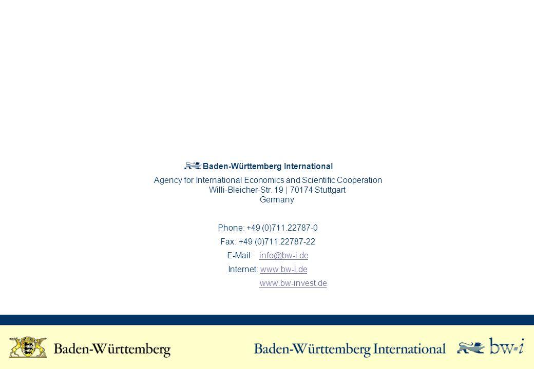 Baden-Württemberg International Agency for International Economics and Scientific Cooperation Willi-Bleicher-Str. 19 | 70174 Stuttgart Germany Phone: