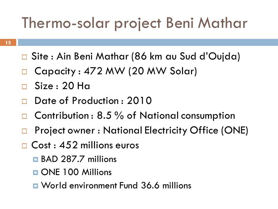 15 Thermo-solar project Beni Mathar Site : Ain Beni Mathar (86 km au Sud dOujda) Capacity : 472 MW (20 MW Solar) Size : 20 Ha Date of Production : 201