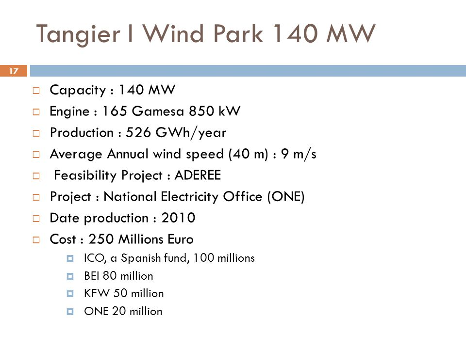 17 Tangier I Wind Park 140 MW Capacity : 140 MW Engine : 165 Gamesa 850 kW Production : 526 GWh/year Average Annual wind speed (40 m) : 9 m/s Feasibil