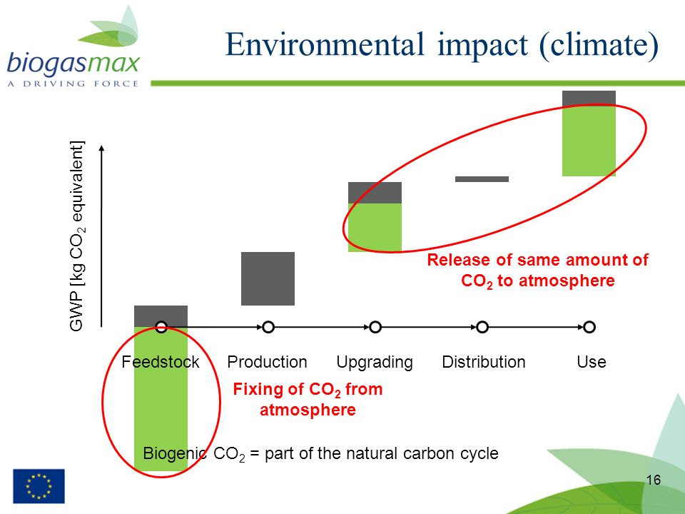 Environmental impact (climate) 16 FeedstockProductionUpgradingDistributionUse GWP [kg CO 2 equivalent] Biogenic CO 2 = part of the natural carbon cycl