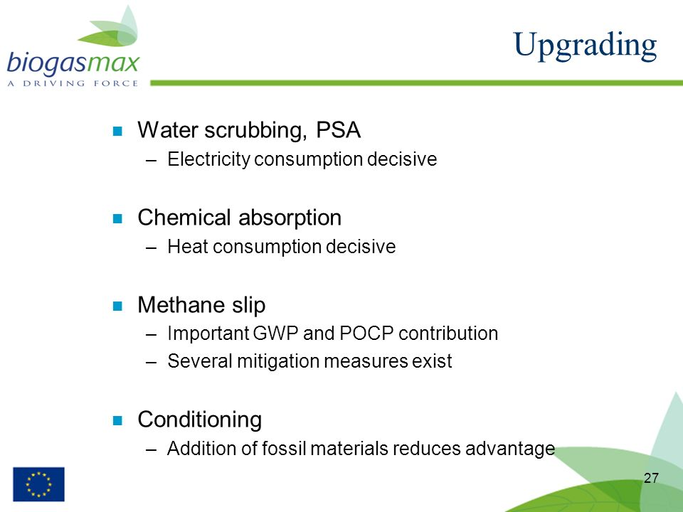 27 n Water scrubbing, PSA –Electricity consumption decisive n Chemical absorption –Heat consumption decisive n Methane slip –Important GWP and POCP co